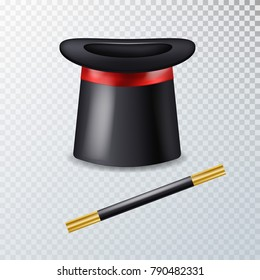 Realistic vector  hat with magic wand.