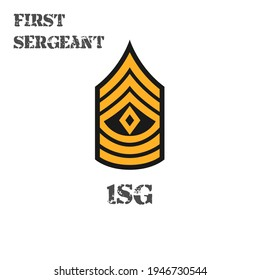 Realistic vector icon of the chevron first sergeant of the US Army. Description and abbreviated name.