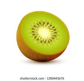 Realistic vector icon of Kiwi, sliced juicy tropical fruit isolated on white background.