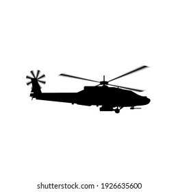 Realistic vector icon military attack helicopter military air forces of the United States. Apache. Side view.