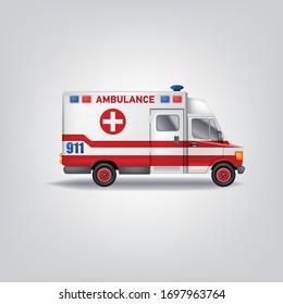 Realistic Vector Illustration Ambulance car. White service Truck template