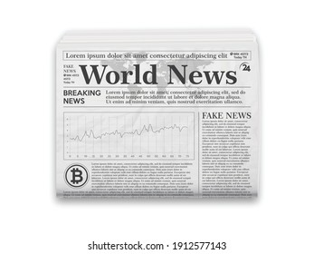 Realistic vector illustration of black and white newspaper layout.