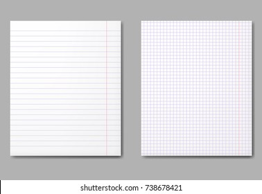 Realistic vector illustration of blank sheets with shadows.
