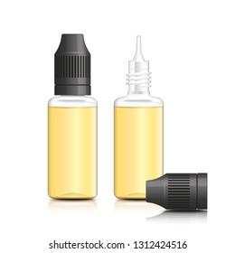 Realistic vector illustration of bottles of e-liquid for vaping. E liquid for electronic cigarette