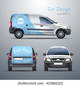 Realistic vector illustration of a car template design stickers on the car. Food delivery