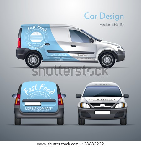 Realistic Vector Illustration Car Template Design Stock Vector
