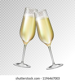 Realistic vector illustration of champagne glass isolated on transperent background