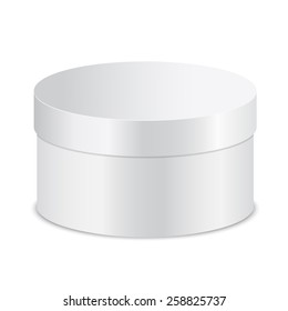 Realistic vector illustration of closed round boxes, isolated on white background.
