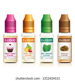Realistic vector illustration of e-liquid for vaping. Flavored e liquid for electronic cigarette