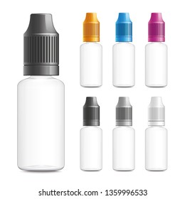 Realistic vector illustration of empty plastic bottles for e-liquid with black, white, and colored bottle caps. Isolated on white background.