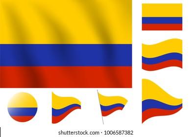 Realistic vector illustration flag. National symbol design. Columbia flag