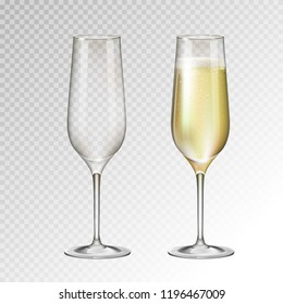 Realistic vector illustration of full and empty champagne glass isolated on transperent background