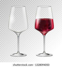 Realistic vector illustration of fuul and empty champagne or wine glass isolated on transperent background