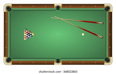 Realistic vector illustration of a green pool table with balls and cues. Top view. All elements sorted and grouped in layers