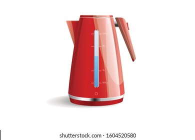 Realistic vector illustration of modern kitchen appliance electric kettle on white background
