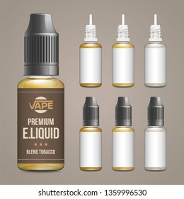 Realistic vector illustration of plastic bottles of e-liquid with brown template for e-liquid label