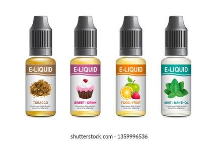 Realistic vector illustration of plastic bottles of e-liquid for vaping. Template for e-liquid label. Isolated on white background.