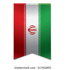 Realistic vector illustration of a ribbon banner with the iranian flag. Could be used for travel or tourism purpose to Iran.