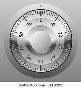 Realistic vector illustration of safe combination lock wheel.
