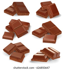 Realistic vector illustration, set of broken chocolate bars on white background.