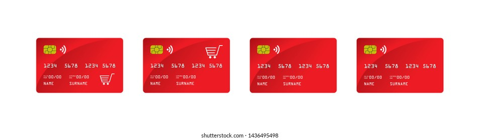 Realistic Vector Illustration Set of Credit Card on White Background. EPS file.