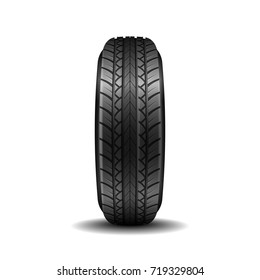Realistic vector illustration of a single car tire on a white background