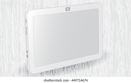 realistic vector illustration white plate, on a gray wood background