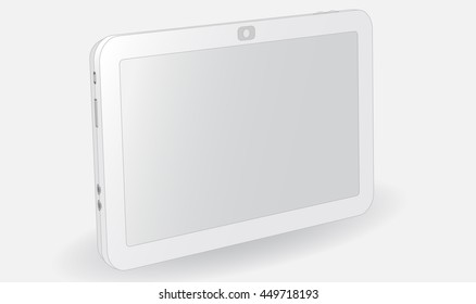 realistic vector illustration white plate, on a gray background