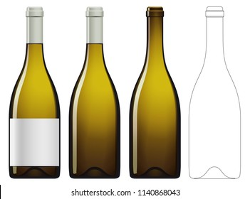 Realistic vector illustration of white wine bottle Isolated on white background. Front view of the wine bottle with label, bottle without label and linear technical drawimg of the wine bottle.
