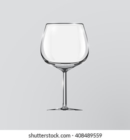 Realistic vector illustration of a wine glass. Clip art. Element of design.