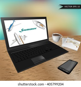 Realistic vector illustration of the working office desk with a laptop, mobile phone, cup of coffee, notepad and glasses.Top view of the desktop with a laptop, office supplies and coffee. Desk.