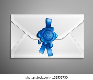 Realistic vector image of e-mail envelope with blue ribbon and wax seal.
