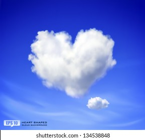 Realistic vector image of heart shaped cloud in blue sky.