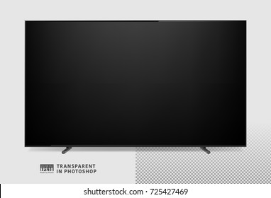 Realistic vector image illustration of a modern design led type lcd panel TV screen. Blank mock up television template. Good for digital, print catalog, web site, presentation. Transparent
