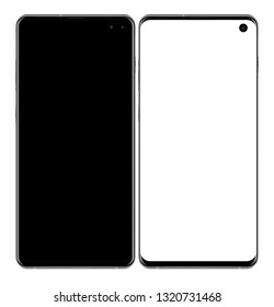 Realistic vector image of smart phone black samsung galaxy s10 plus on transparent background