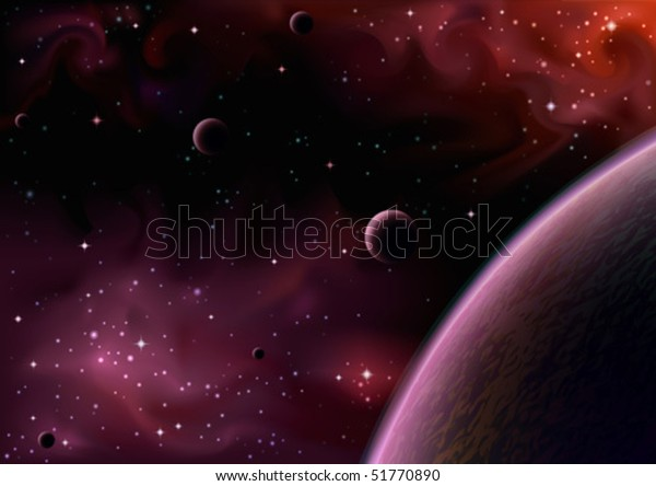 Realistic vector image of a space view near a big purple planet with several moons (AI-optimized EPS 8 file, other space views are in my gallery)