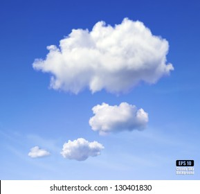Realistic vector image of speech cloud on blue sky