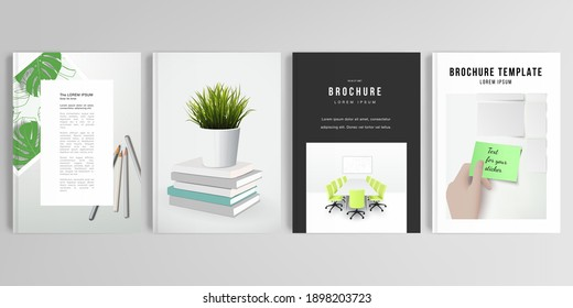 Realistic vector layouts of cover mockup design templates in A4 format for brochure, cover design, flyer, book design, magazine, poster. Home office concept, study or freelance, working from home.
