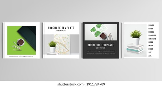 Realistic vector layouts of cover mockup design templates for square brochure, cover design, flyer, book design, magazine, poster. Home office concept, study or freelance, working from home.