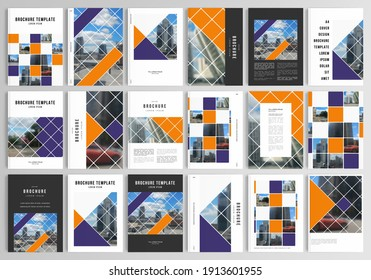 Realistic vector layouts of cover mockup templates in A4 for brochure, cover design, flyer, book design, magazine, poster. Abstract design project in geometric style with squares and place for photo.