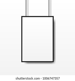 Realistic vector light box template, advertisement frame on white background
