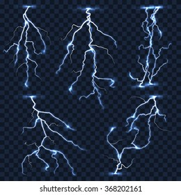 Realistic vector lightnings set on plaid transparent background. Electric strike, thunderstorm shock illustration