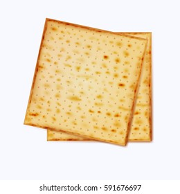 Realistic vector matza on a white background for Jewish Passover.