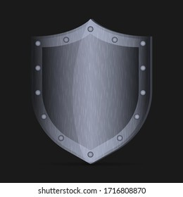 Realistic vector metal shield, European medieval knight equipment. Shield ancient, isolated armor on dark background.
