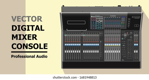 Realistic vector of mixer for live performances, broadcasting, surround sound production, commercial installations. Digital professional console. Equipment for sound engineers. Artists Rider.