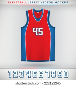 Realistic Vector Mock Up of Basketball Jersey with Numbers