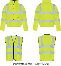 A realistic vector mockup collection of Hi-vis reflective coat and jacket.
