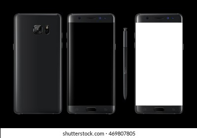 Realistic vector mock-up of new generation smartphone black samsung galaxy note 7 with stylus s pen. Layered - just put your image on content layer. Scale vector smartphone image to any resolution.