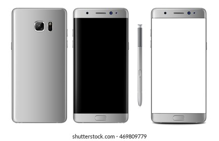 Realistic vector mock-up of new generation smartphone silver titanium samsung galaxy note 7 with stylus s pen. Layered - just put your image on content layer. Scale vector image to any resolution.