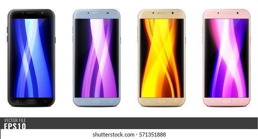 Realistic vector mock-up set of new generation smartphone black, silver, gold, pink samsung galaxy A 7 5 3. Layered. Just put your image on content layer. Scale vector, any resolution. Front back side